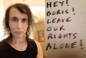 """Placard reads """"Hey! Boris! Leave our rights alone!"""""""