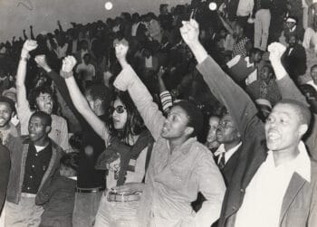   Vino Reddy née Pillay in dark glasses during the Viva FRELIMO rally photograph taken outside of the Curries Fountain Stadium in Durban 25 September 1974   MR Online