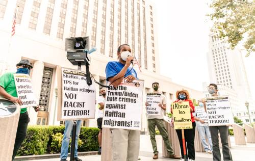 Los Angeles protest in defense of Haitian refugees, September 23, 2021.Photos: Revo Grafia