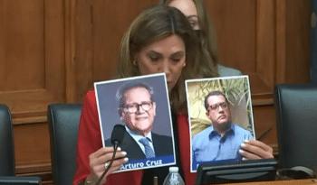   Farright Florida Congresswoman María Elvira Salazar holding up photos of USfunded coup leaders Felix Maradiaga and Arturo Cruz at a hearing on Nicaragua   MR Online