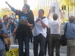 Protest following the FBI raids on anti war and international solidarity.