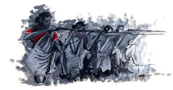 | Combatants in the Telangana Armed Struggle 194651 a communistled insurrection of peasants against the autocratic rule of the Nizam monarch of the princely state of Hyderabad and against feudal exploitation by landlords Illustration Navya India Young Socialist Artists Reference photo Sundarayya Vignana Kendram Telangana 1948 | MR Online