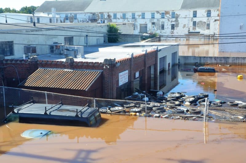 Flooding in Norristown, PA from remains of Hurricane Ida (September 2, 2021)