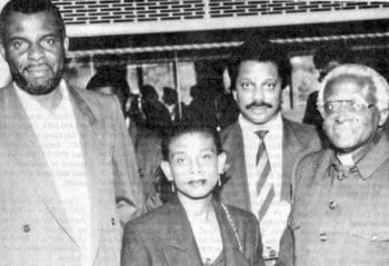   Marc Wadsworth at a Norbury rally he organised in 1993 with from left Neville and Doreen Lawrence and Archbishop Desmond Tutu   MR Online