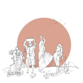 | Brick work locally known as pakka me kaam Illustration Karuna Pious P India Young Socialist Artists Reference photo Khabar Lahariya Peoples Archive Of Rural India PARI Uttar Pradesh February 2017 | MR Online