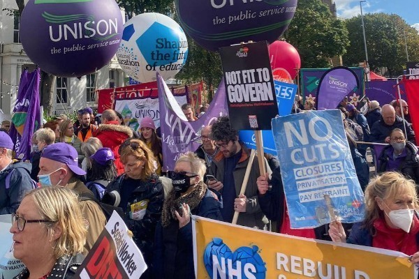 Trade unionists on the march